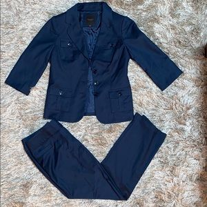 The limited navy blue pant suit
